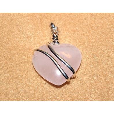 SERCE - kwarc różowy (wisior w oplocie z metalu)