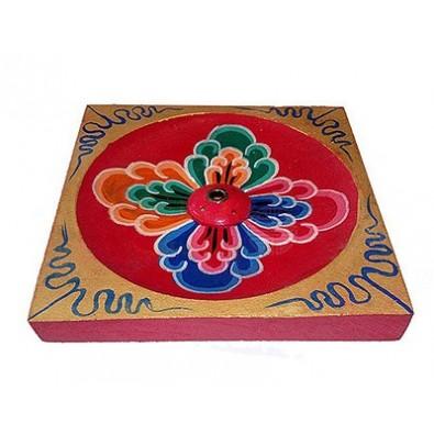DUŻA podstawka pod kadzidła, symbol KWIAT-WADŻRA (nepalska, drewniana)