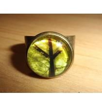 Pierścień RUNICZNY - ALGIZ (drzewo), ręcznie robiony