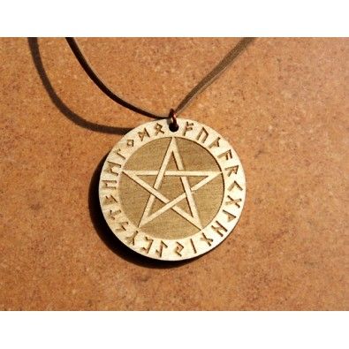 PENTAGRAM runiczny - wisior drewniany (3,5cm)