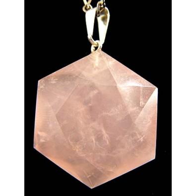 Heksagram - kwarc różowy (wisiorek)