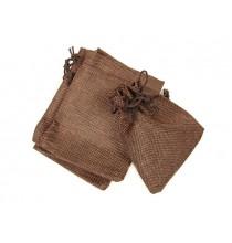 Woreczek LNIANY brązowy - ŚREDNI (12x9,5cm)