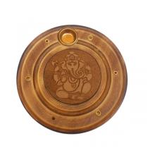 GRAWEROWANA podstawka pod kadzidła, GANESHA (indyjska, drewniana)