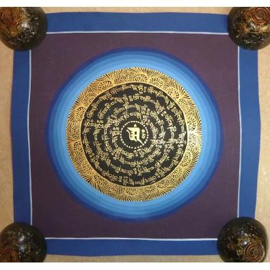 Thanka nr 10 / MANDALA - OM MANI PADME HUM (Symbol OM) 25x25 cm