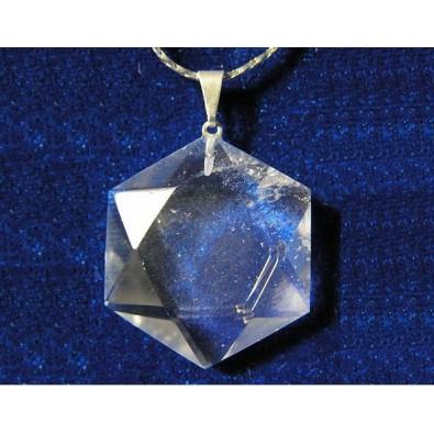 Heksagram - kryształ górski (wisiorek)