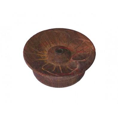 KWIAT, CIEMNY BRĄZ podstawka pod kadzidła (nepalska, drewniana)