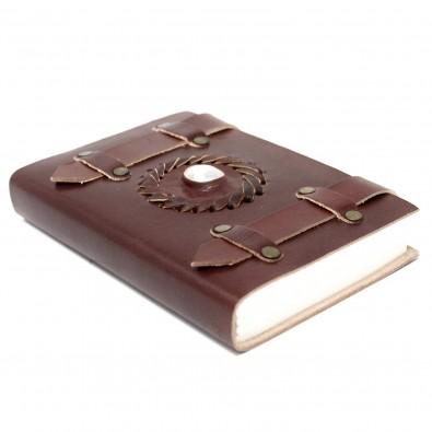 Skórzany Notatnik KAMIEŃ KSIĘŻYCOWY (z paskami) - MAŁY (10x15cm)