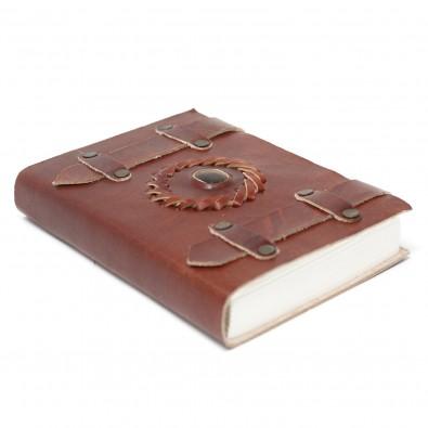 Skórzany Notatnik TYGRYSIE OKO (z paskami) - MAŁY (10x15cm)