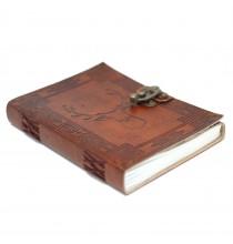Skórzany Notatnik JELEŃ (z klamrą) - DUŻY (15x20cm)