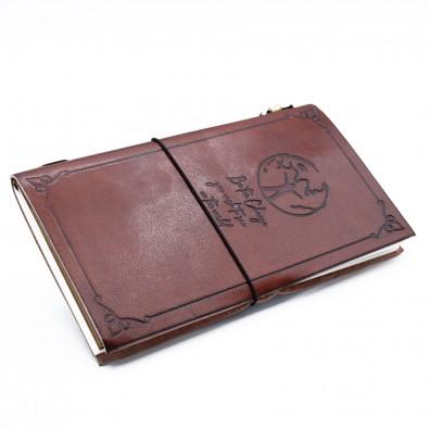 """Skórzany Notatnik """"BĄDŹ ZMIANĄ"""" (wiązany gumką) - ŚREDNI (12x22cm)"""