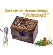 """""""ŚWIEŻOŚĆ"""" ZESTAW do AROMATERAPII - 6 szt olejków (w pudełku z drewna MANGO)"""