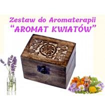 """""""AROMAT KWIATÓW"""" ZESTAW do AROMATERAPII - 6 szt olejków (w pudełku z drewna MANGO)"""